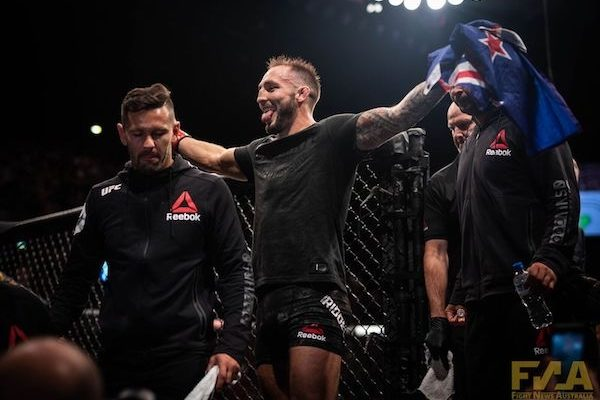 Brad Riddell celebrates victory at UFC Auckland (Photo: Chad Wood)